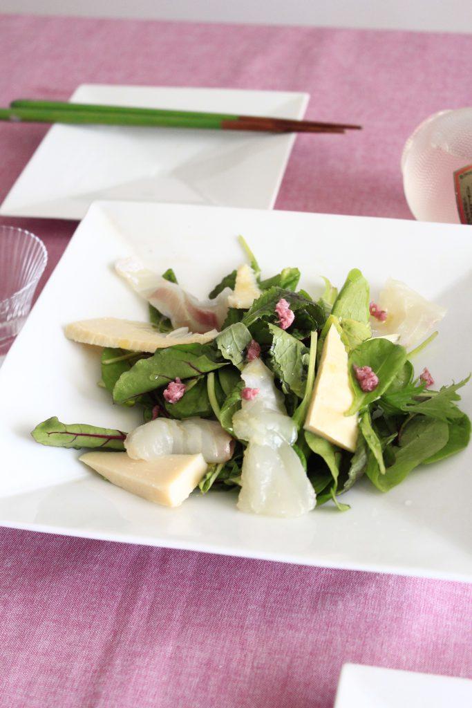 のせるだけの桜香る鯛のカルパッチョサラダ①
