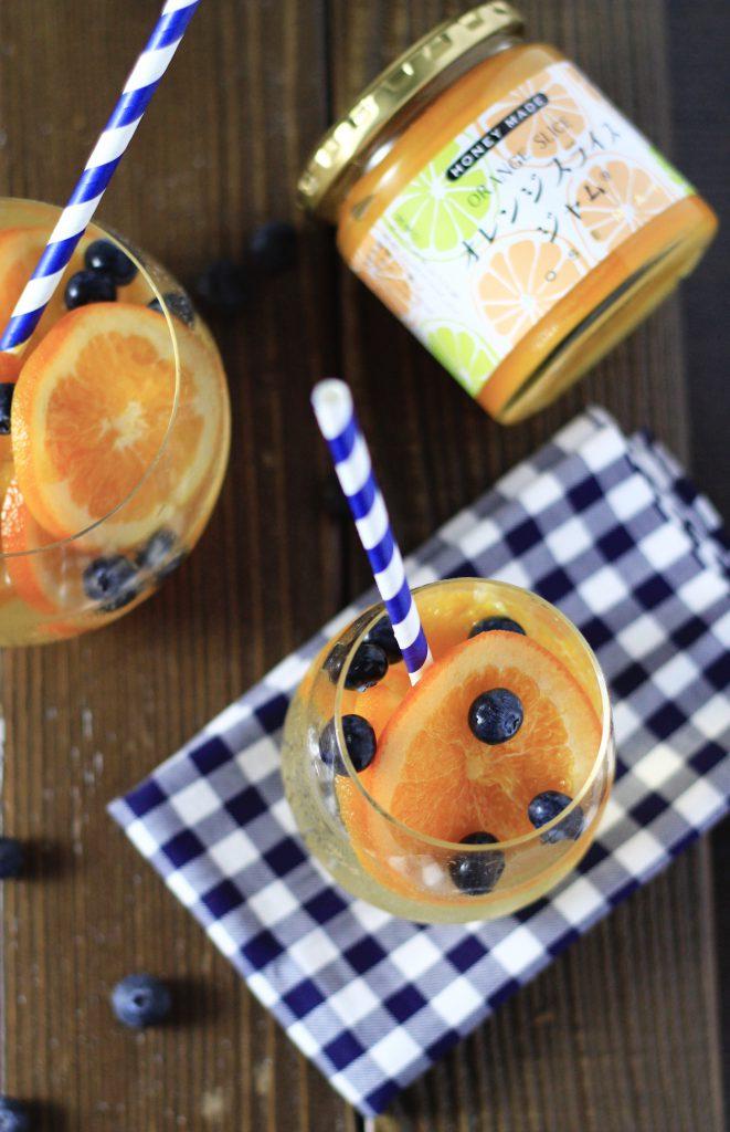 オレンジスライスジャムでフルーツソーダ写真①