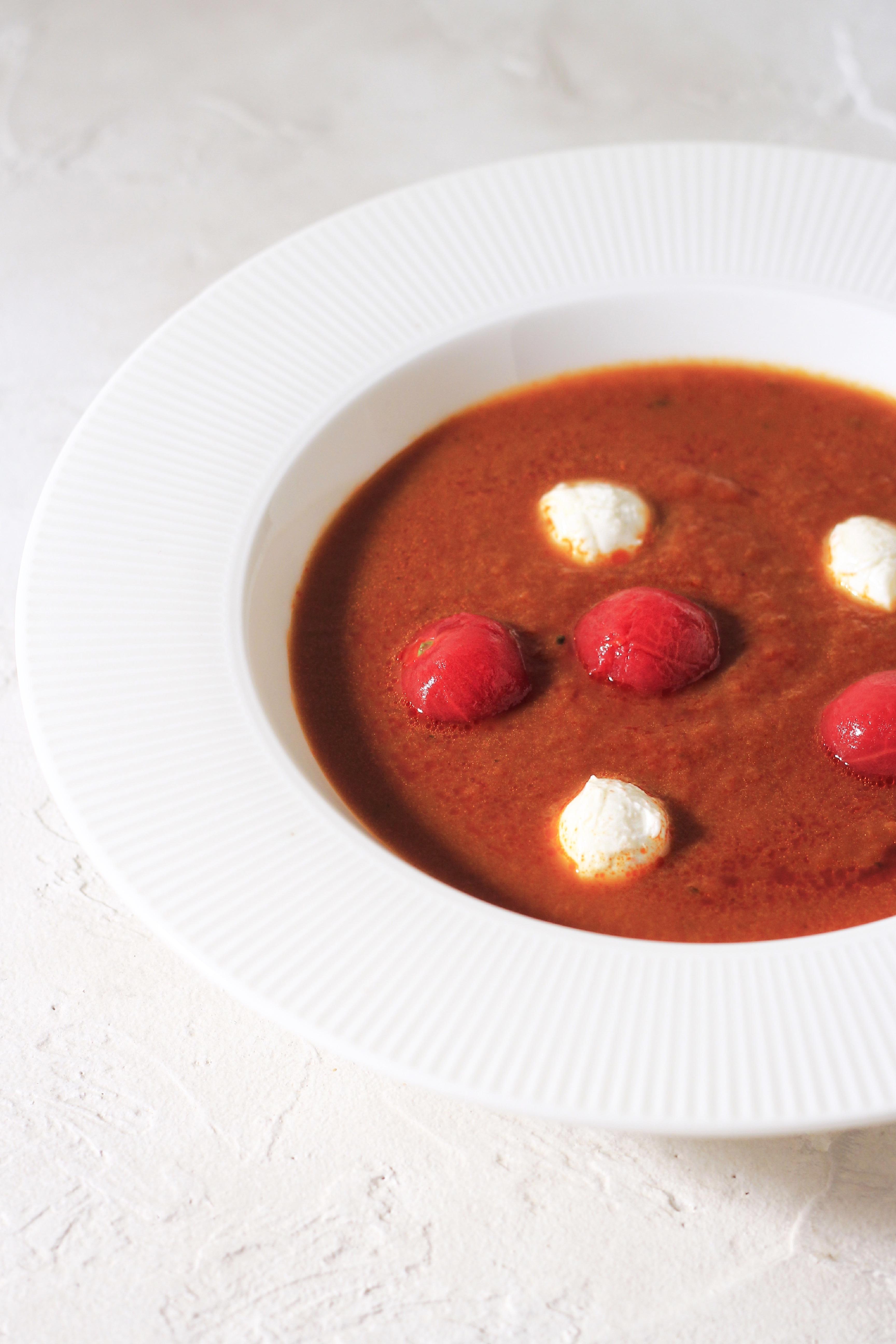 レトルトトマトスープにミニモッツァレラ⑤