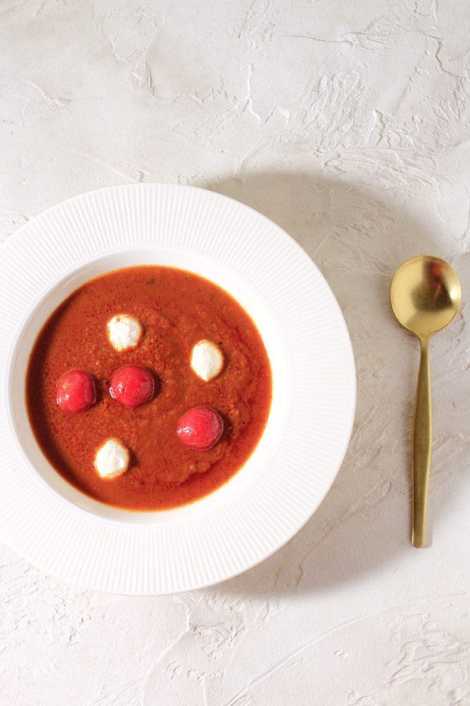 レトルトトマトスープにミニモッツァレラ③
